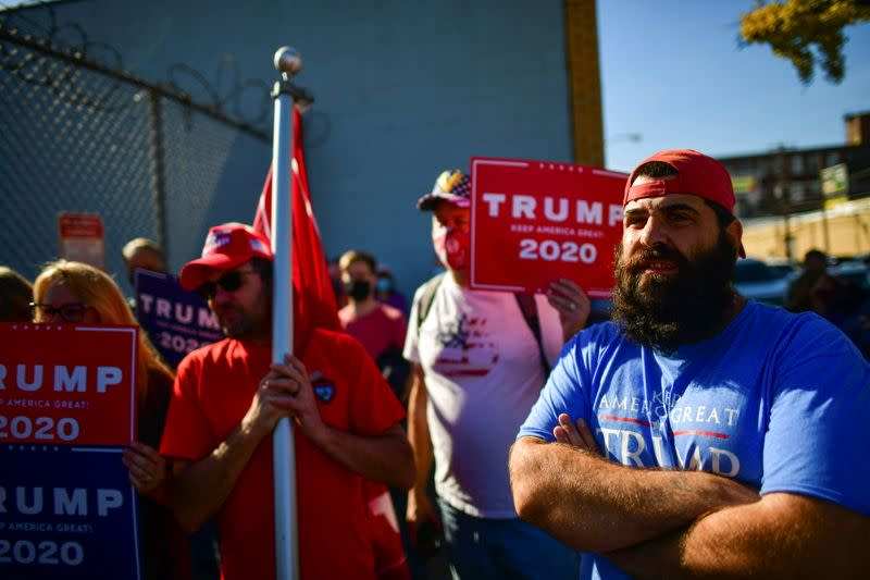 Supporters of President Donald Trump gather outside a news conference from the Trump legal team after news media named Democratic presidential nominee Joe Biden the winner in the 2020 U.S. presidential election in Philadelphia