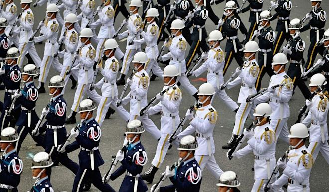 Taiwan's honour guards take part in the parade. Photo: AFP