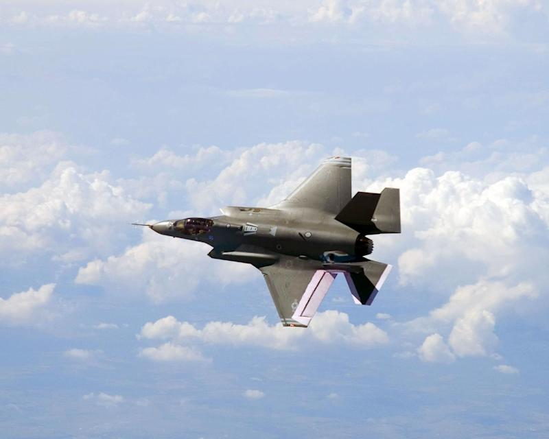 This undated handout file image obtained courtesy of the Joint Strike Fighter program site shows the F-35 fighter jet