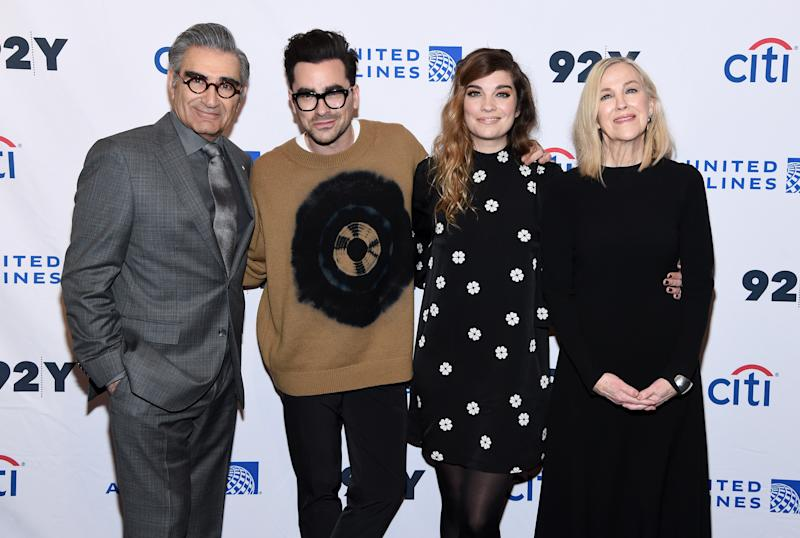 """NEW YORK, NEW YORK - JANUARY 17: Eugene Levy, Daniel levy, Annie Murphy and Catherine O'Hara attend the """"Schitt's Creek"""" Screening & Conversation at 92nd Street Y on January 17, 2020 in New York City. (Photo by Jamie McCarthy/Getty Images)"""