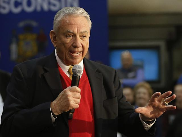 """In this March 18, 2016 photo, former Wisconsin Gov. Tommy Thompson addresses the crowd at a town hall meeting at the River Steel plant in West Salem, Wis. Don't make things worse. That's the advice from former U.S. health secretaries of both parties for President Donald Trump and the GOP-led Congress now that """"Obamacare"""" seems to be here to stay. (AP Photo/Charles Rex Arbogast)"""