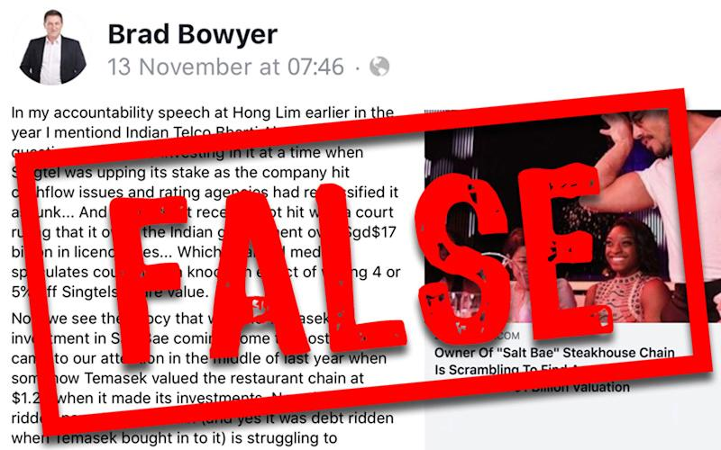 Fake news law used for first time over PSP member's Facebook post