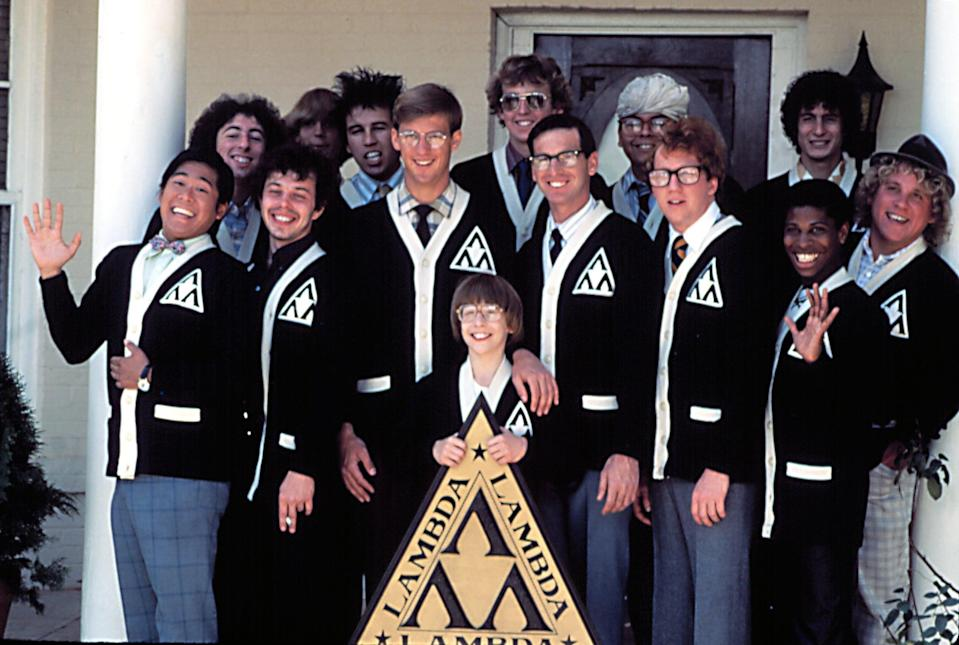 REVENGE OF THE NERDS, Brian Tochi, Curtis Armstrong, Anthony Edwards, Andrew Cassese, Robert Carradine, Timothy Busfield, Larry B. Scott, etc, 1984. TM and Copyright  20th Century Fox Film Corp. All rights reserved. Courtesy: Everett Collection.