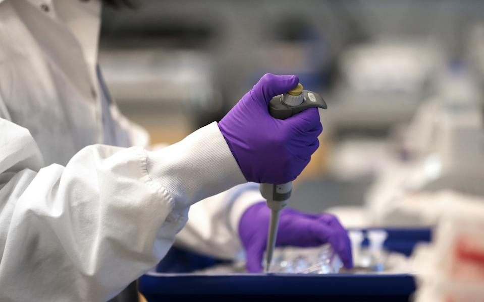 BOSTON - FEBRUARY 28: Scientist Xinhua Yan works in the lab at Moderna in Cambridge, MA on Feb. 28, 2020. Moderna has developed the first experimental coronavirus medicine, but an approved treatment is more than a year away. (Photo by David L. Ryan/The Boston Globe via Getty Images)