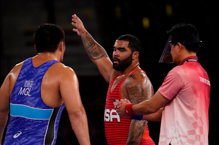 Gable Steveson defeated Lkhagvagerel Munkhtur in the men's freestyle 125kg semifinal during the Tokyo Olympics.
