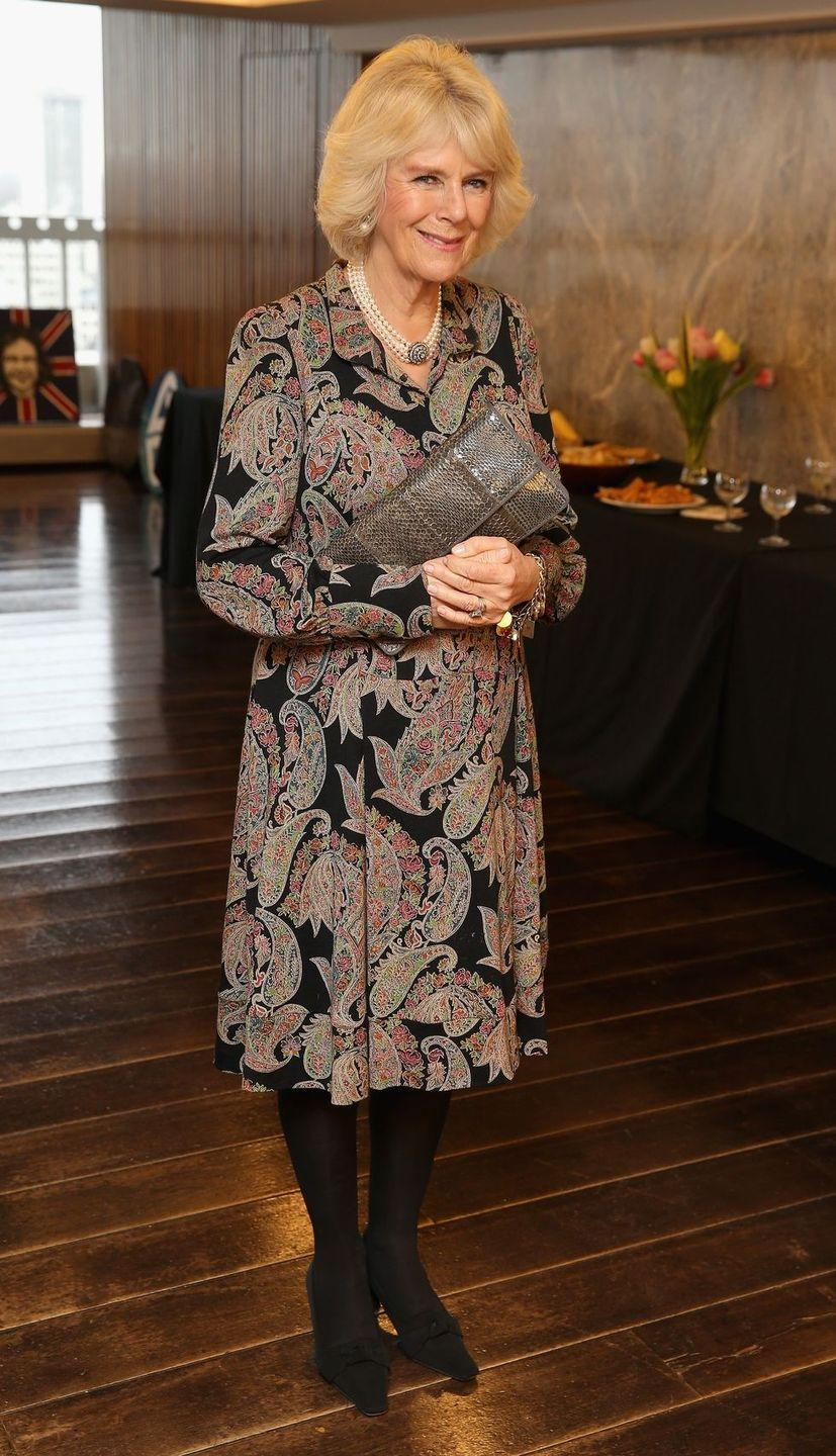<p>For a day event in London, Camilla wore a paisley-print knee-length with black tights. </p>