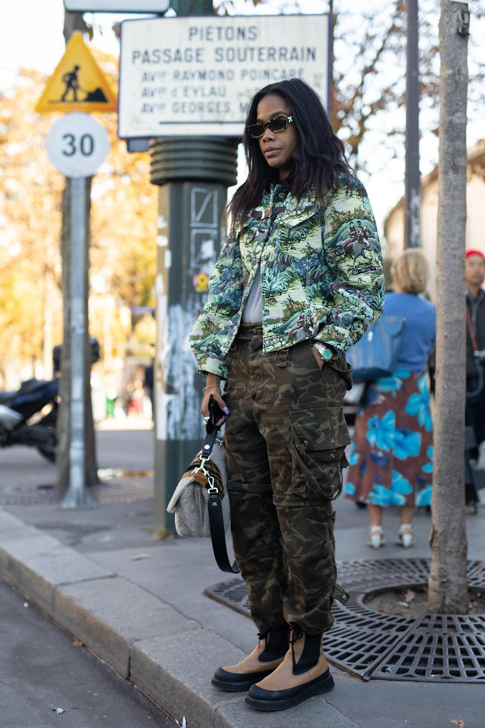 <p>Embrace the utilitarian vibes of your cargo pants and adopt the coordinating-outerwear trend. Make it more wearable with easy footwear, like a ballet flat or simple sneaker. </p>