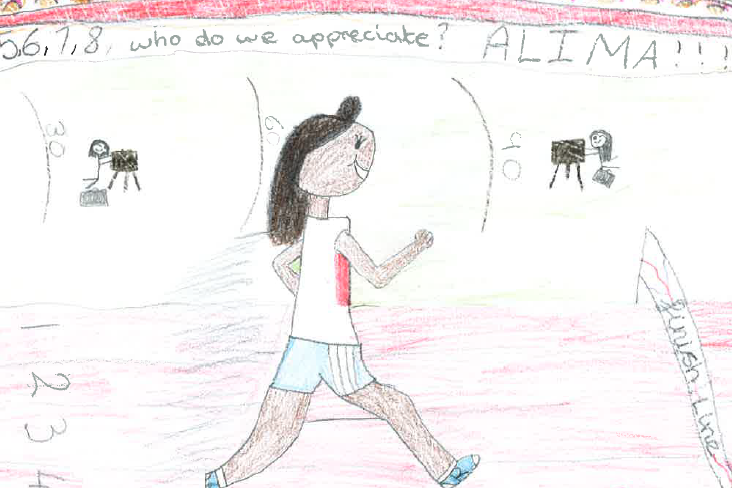 Alima, 9, drew herself as an athlete (Education and Employers)