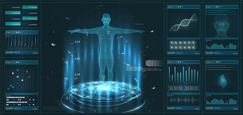 A digital image of a body, along with health data