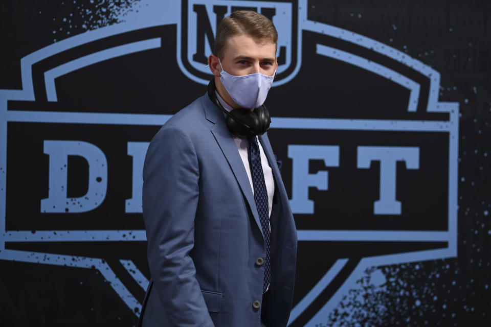 Alabama quarterback Mac Jones appears on the Red Carpet at the Rock & Roll Hall of Fame before the first round of the NFL football draft Thursday, April 29, 2021, in Cleveland. (AP Photo/David Dermer, Pool)
