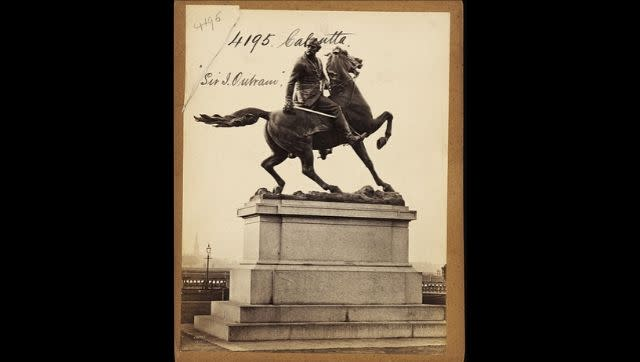 A statue of Sir James Outram which stood on Park Street, Chowringhee junction in Kolkata before being moved to the Victoria Memorial Hall in 1958. Image via Wikimedia Commons