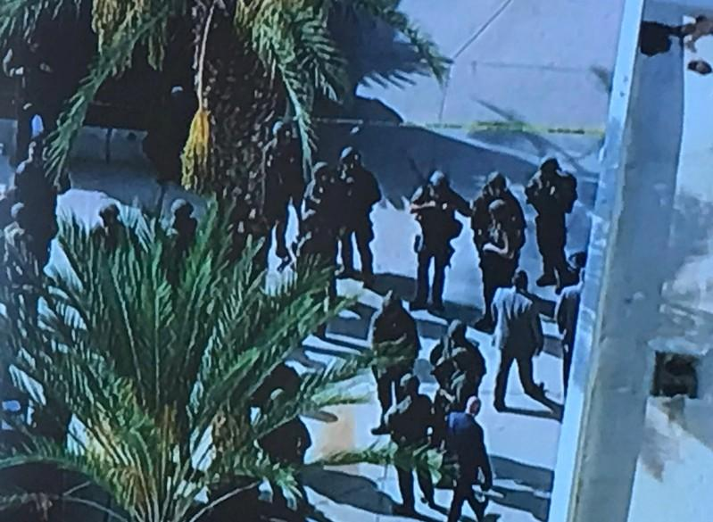 LASD SEB members are pictured after shooting at Saugus High School in Santa Clarita, California