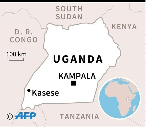 Map of Uganda locating Kasese where a five-year-old boy has died from Ebola (AFP Photo/Valentina BRESCHI)