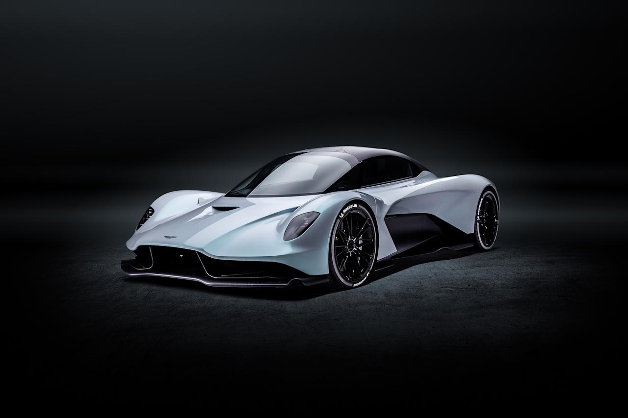 This spectral wedge derives its prodigious 1,000 horsepower from a twin-turbocharged V6 gas engine and a sophisticated hybrid-electric system. Only 500 will be built, at a price north of $1 million each. Agent 007 gets to drive one, along with a vintage Aston Martin DB5, in the next installment of the James Bond movie franchise.