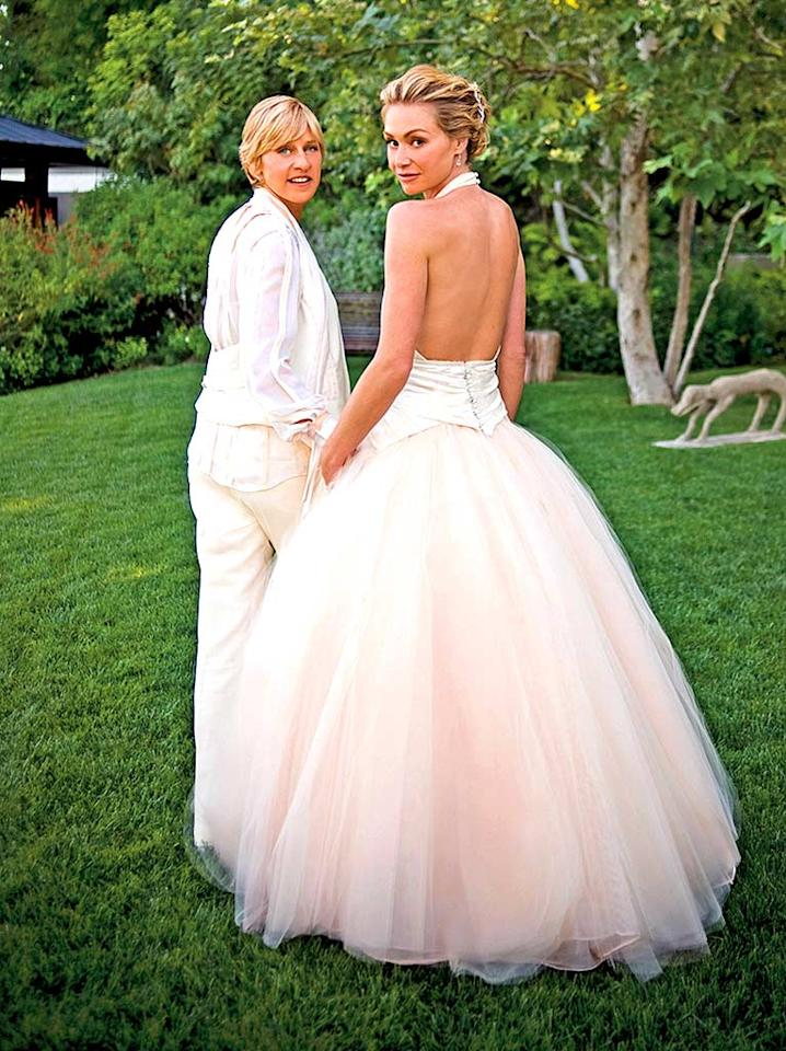 """Ellen DeGeneres and her wife Portia de Rossi looked absolutely lovely at their wedding last weekend. Hopefully the dynamic duo will be together forever. Lara Porzak/<a href=""""http://www.wireimage.com"""" target=""""new"""">WireImage.com</a> - August 16, 2008"""