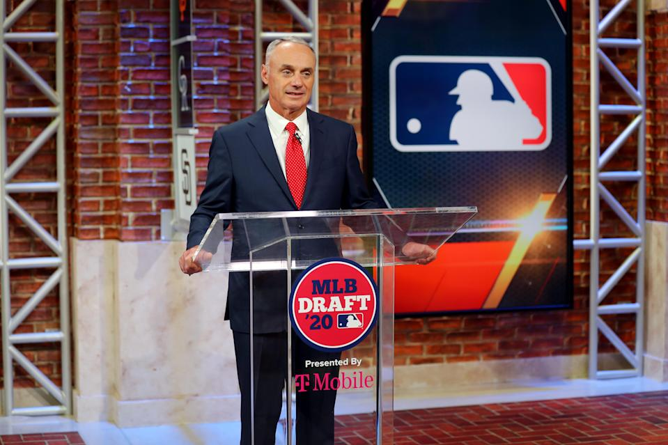 MLB commissioner Rob Manfred and the league are in a stalemate with the players on when to reopen the season. (Photo by Alex Trautwig/MLB Photos via Getty Images)