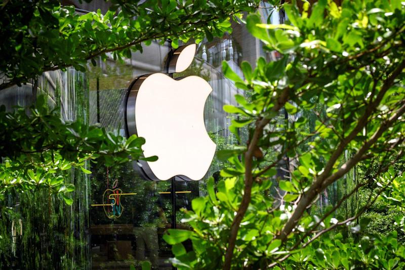The Apple logo is pictured outside the newly-opened Apple store in downtown Bangkok on July 31, 2020: MLADEN ANTONOV/AFP via Getty Images