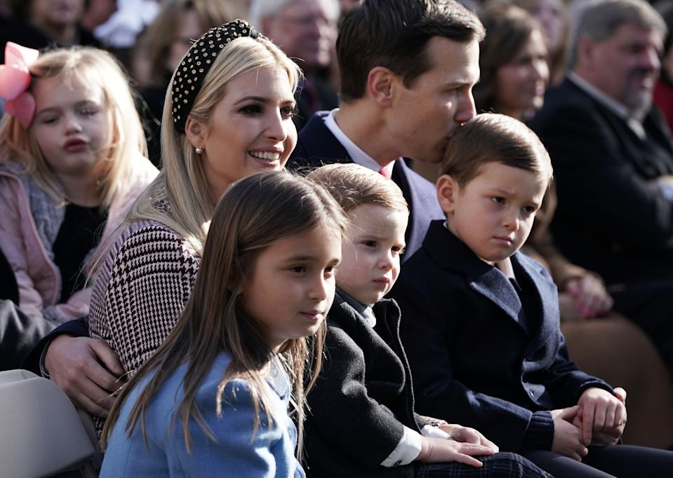 Ivanka Trump, her husband Jared Kushner, children Theodore Kushner, Joseph Kushner, Arabella Kushner attend a turkey pardoning event at the Rose Garden of the White House November 20, 2018 in Washington, DC. The two turkeys, Peas and Carrots, will spend the rest of their lives in a farm after the annual Thanksgiving presidential tradition today.