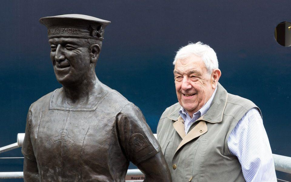 Norrell with his statue by the Royal Yacht Britannia at Leith