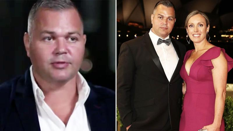 Anthony Seibold is seen here on 60 Minutes and alongside his wife.