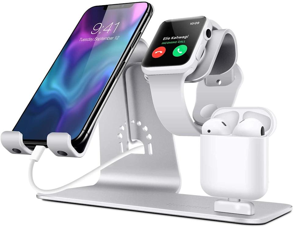 <p>Keep track of all your devices with this <span>Bestand3 in 1 Apple iWatch Stand, Airpods Charger Dock, Phone Desktop Tablet Holder</span> ($23, originally $30).</p>