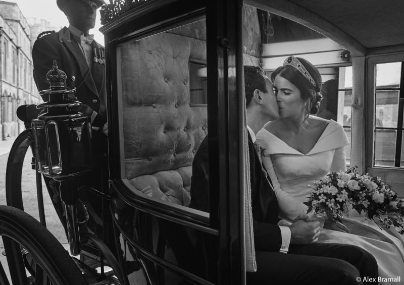 Princess Eugenie and Jack Brooksbank smooch in the Scottish State Coach as it returns to Windsor Castle following the Carriage Procession. (Alex Bramall/Courtesy Buckingham Palace)