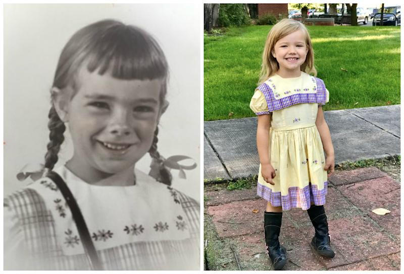 Jenny Hirt's 4-year-old daughter, Caroline Hirt (right), wore the dress this year for her first day of kindergarten. The first person to wear it was Jenny's aunt, Martha Esch (left), in 1950. (Courtesy of Jenny Hirt)