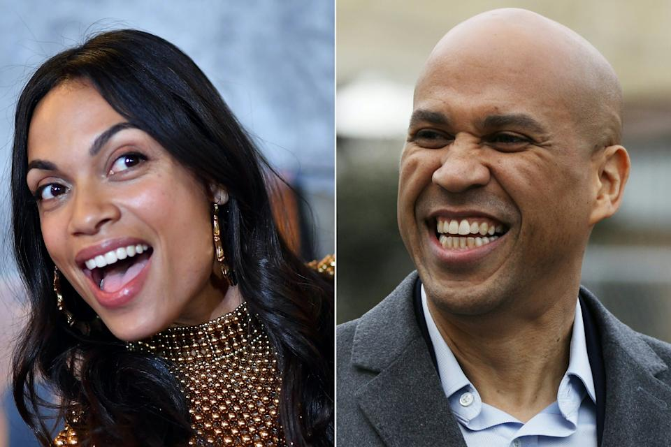 Rosario Dawson, left, moved to from L.A. to Newark, N.J., last summer to be with her boyfriend, Sen. Cory Booker, right.