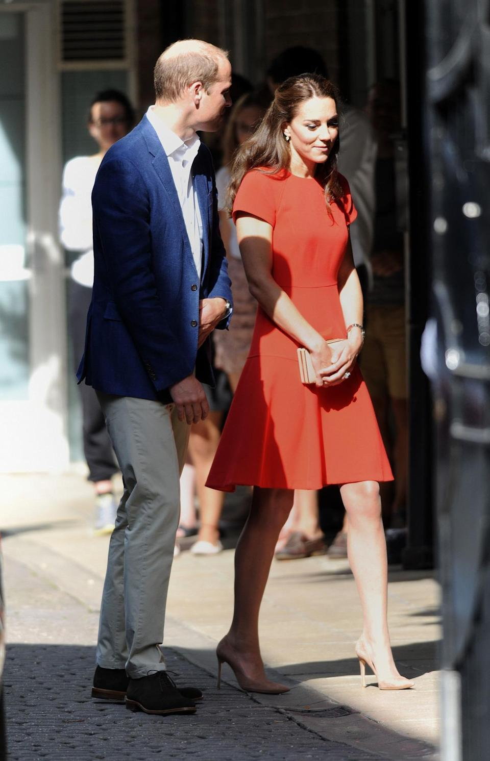 <p>Kate's latest outing to a young people's mental health charity saw the Duchess in a scarlet L.K. Bennett dress paired with nude Gianvito Rossi pumps and a matching box clutch.</p><p><i>[Photo: PA]</i></p>