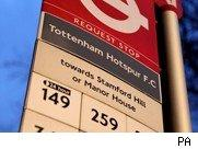 Bus stop outside ground of Tottenham Hotspur FC