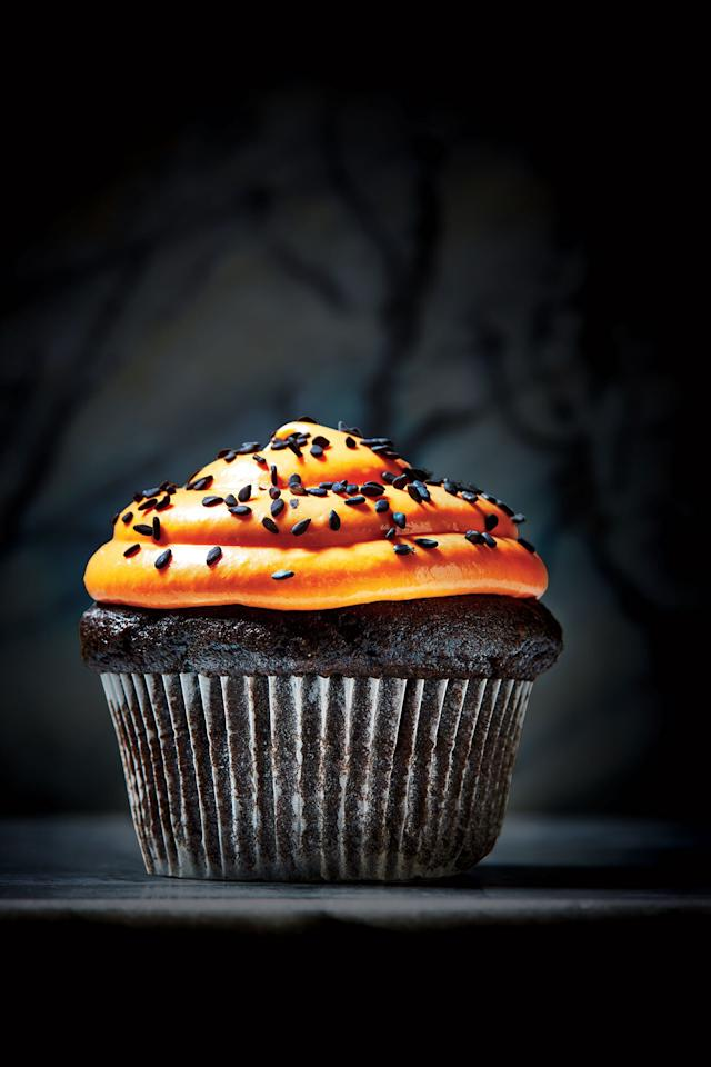 """<p>There's nothing artificial about these dramatically hued treats. Supermoist (and whole-grain) chocolate cupcakes get their blackout color from black sesame seeds and antioxidant-rich dark cocoa powder. These desserts are delicious and better for you, with every bit of fun, festive flair you crave.</p> <p><a href=""""https://www.myrecipes.com/recipe/black-sesame-cupcakes"""">Black Sesame Cupcakes Recipe</a></p>"""