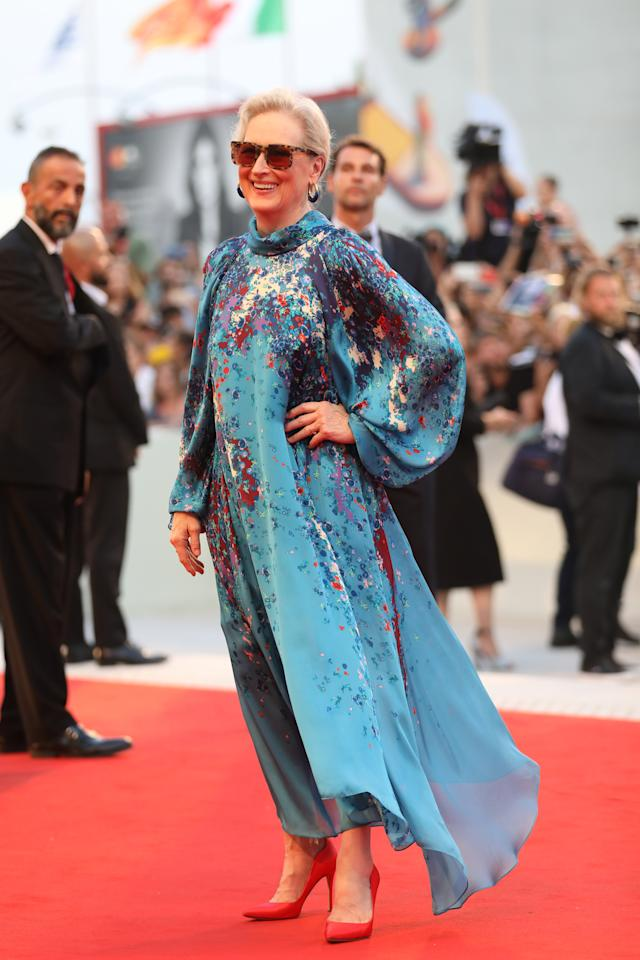 """Meryl Streep walks the red carpet ahead of the """"The Laundromat"""" screening during the 76th Venice Film Festival at Sala Grande on September 1, 2019 in Venice, Italy. Photo courtesy of Getty Images."""