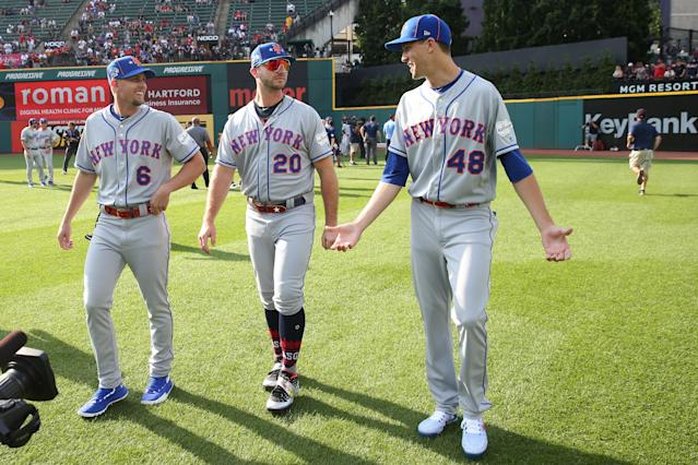Jeff McNeil #6, Pete Alonso #20 and Jacob deGrom #48 of the New York Mets are seen on the field prior to the 90th MLB All-Star Game at Progressive Field on Tuesday, July 9, 2019 in Cleveland, Ohio. (Photo by Rob Tringali/MLB Photos via Getty Images)