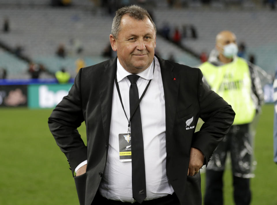 FILE - In this Oct. 31, 2020 file photo, New Zealand rugby coach Ian Foster reacts following the rugby test between the All Blacks and the Wallabies at Stadium Australia, in Sydney. Foster may need the All Blacks to convincingly beat Fiji in the second rugby test on Saturday, July 17, 2021 to quiet rising concern about the poor standard of the New Zealand team's recent test performances.(AP Photo/Rick Rycroft,File)