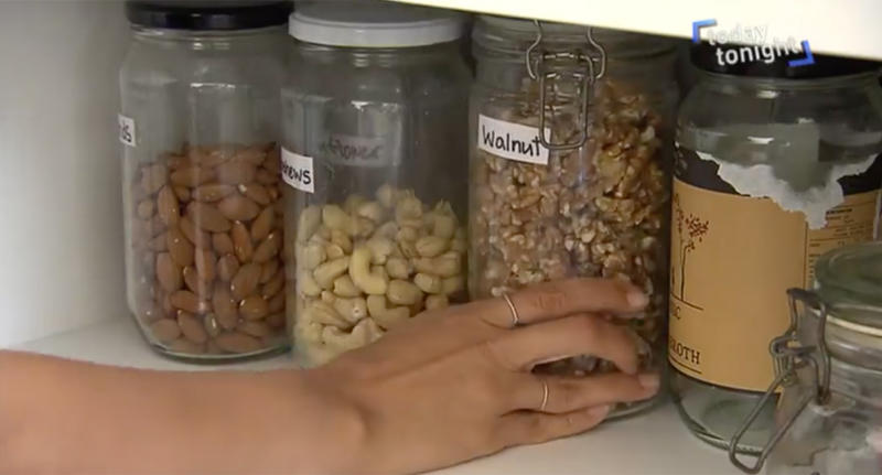 The Woolcott family use reusable jars and containers to store their food.