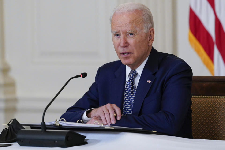 President Joe Biden speaks as he receives a briefing in the State Dining Room of the White House in Washington, Tuesday, Aug. 10, 2021, on how the COVID-19 pandemic is impacting hurricane preparedness. (AP Photo/Susan Walsh)