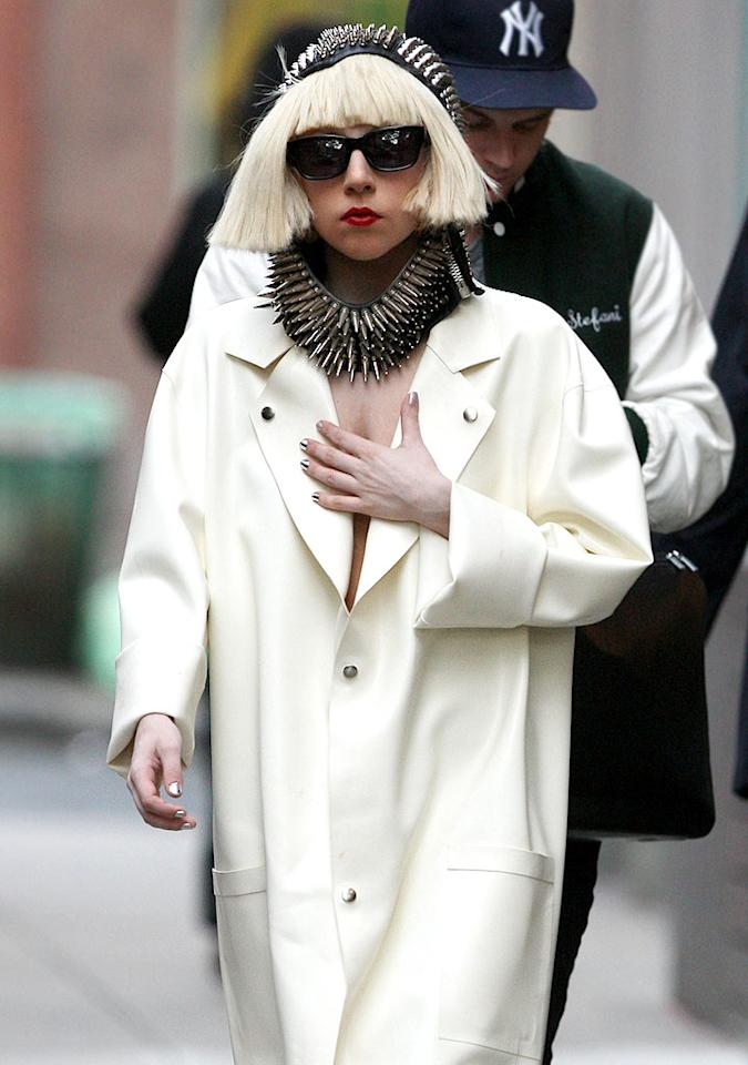 "Um, you didn't expect to see Lady Gaga rocking a boring hood, like one attached to a sweatshirt, did you? Tom Meinelt/<a href=""http://www.splashnewsonline.com"" target=""new"">Splash News</a> - September 21, 2009"