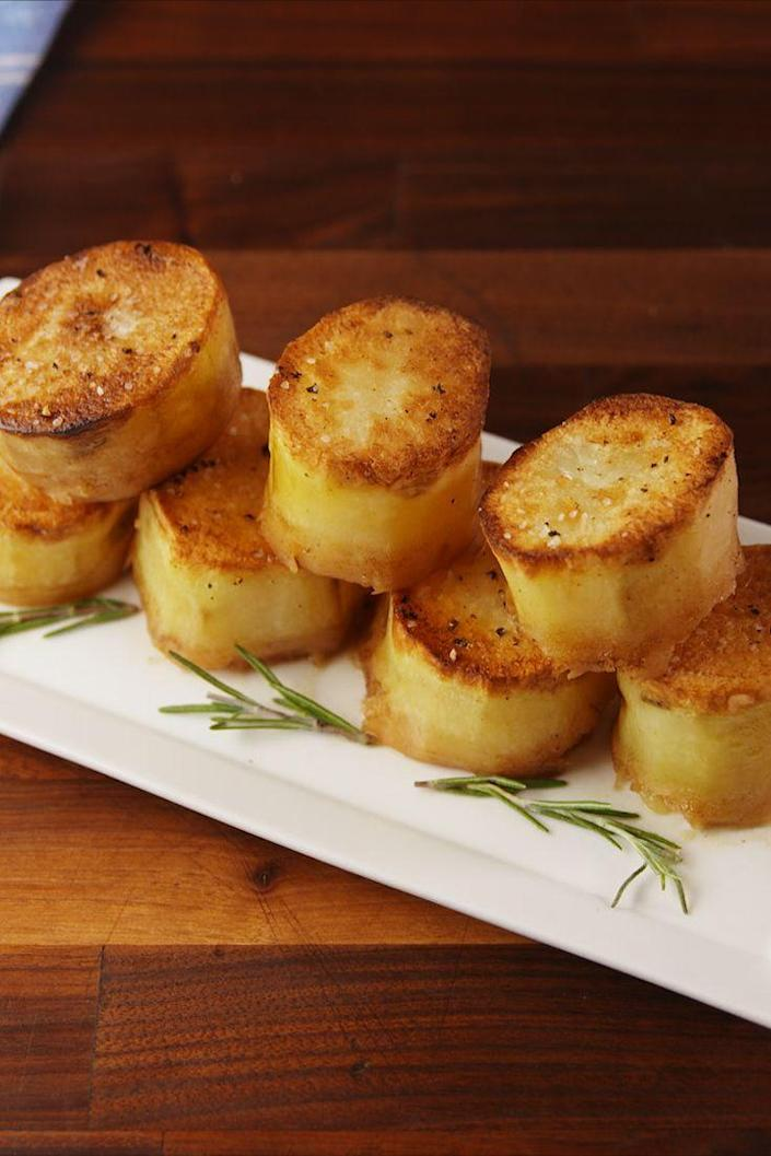 """<p>So good they melt in your mouth.</p><p>Get the recipe from <a href=""""https://www.delish.com/cooking/recipe-ideas/recipes/a56207/fondant-potatoes-recipe/"""" rel=""""nofollow noopener"""" target=""""_blank"""" data-ylk=""""slk:Delish"""" class=""""link rapid-noclick-resp"""">Delish</a>. </p>"""