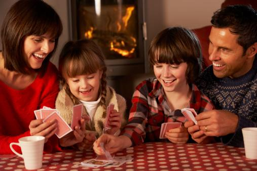 Family playing card games.