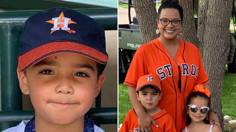 A photo of Josiah McIntyre, who died from a brain-eating amoeba, in a cap on the left. On the right he is pictured with his mother, Maria Castillo, and sister.