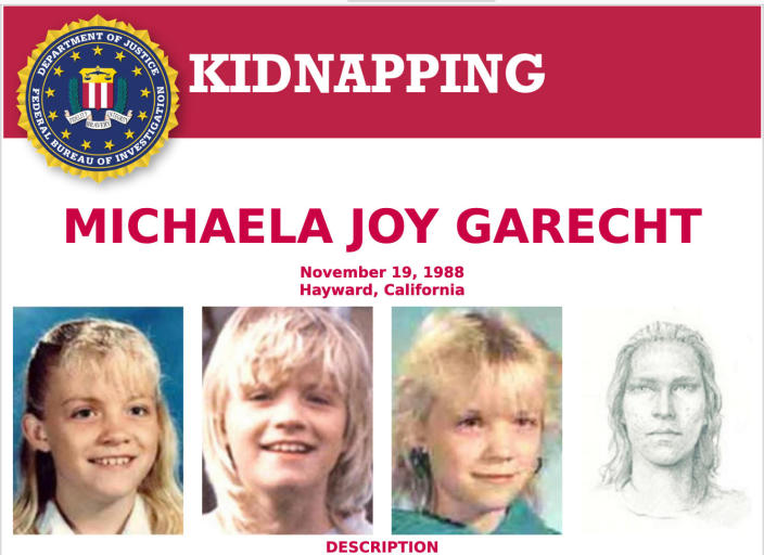 This 1988 poster provided by the FBI shows a wanted poster of photos of kidnapped Michaela Joy Garecht in 1988. On Monday, Dec. 21, 2020, Northern California authorities announced that they have filed charges against convicted killer David Misch in the kidnapping and murder of Garecht, a cold case that stunned the Bay Area for decades. Police said they were only recently able to match a partial palm print at the scene to Misch. Garecht's body has never been found. (FBI via AP)