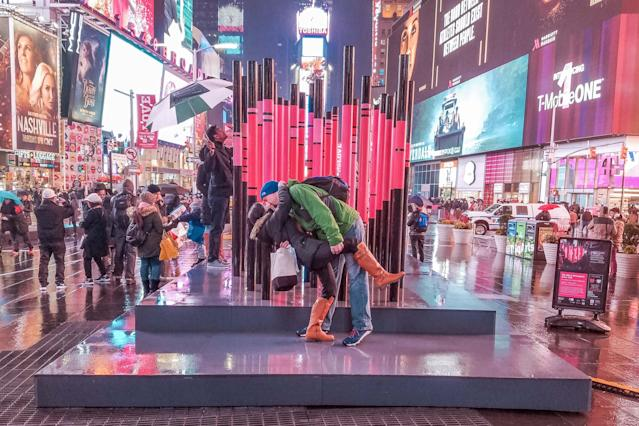 <p>The Switzers in Times Square, New York. (Caters News) </p>