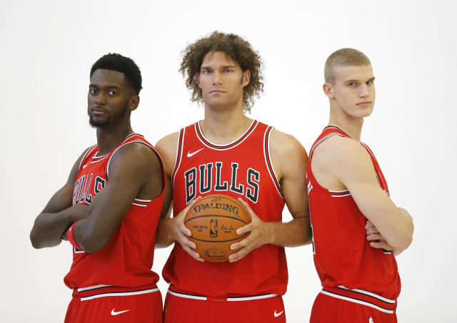 When your stars are all gone and media day still calls for a group photo. (AP)