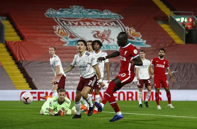 Liverpool's Sadio Mane scores against Arsenal at Anfield
