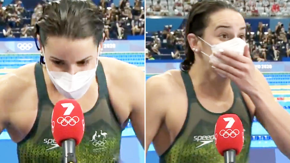 Kaylee McKeown, pictured here dropping a big F-bomb after winning gold at the Olympics.