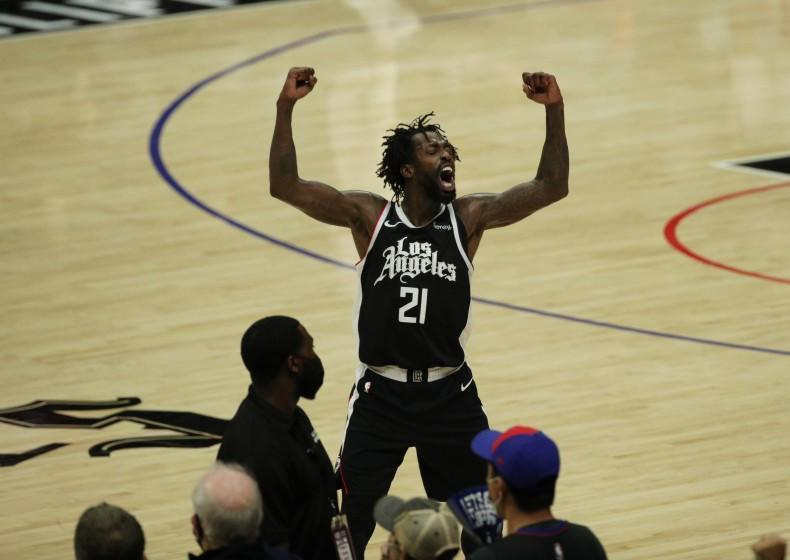 LOS ANGELES, CA - JUNE 18, 2021: LA Clippers guard Patrick Beverley (21) reacts as the Clippers.