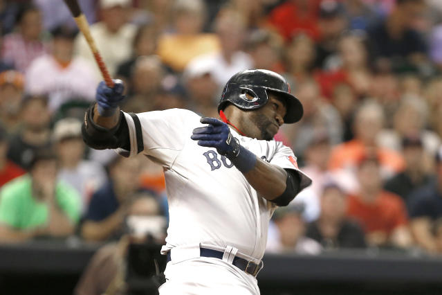 Boston Red Sox's David Ortiz swings for an RBI single against the Houston Astros in the third inning of a baseball game Tuesday, Aug. 6, 2013, in Houston. (AP Photo/Pat Sullivan)
