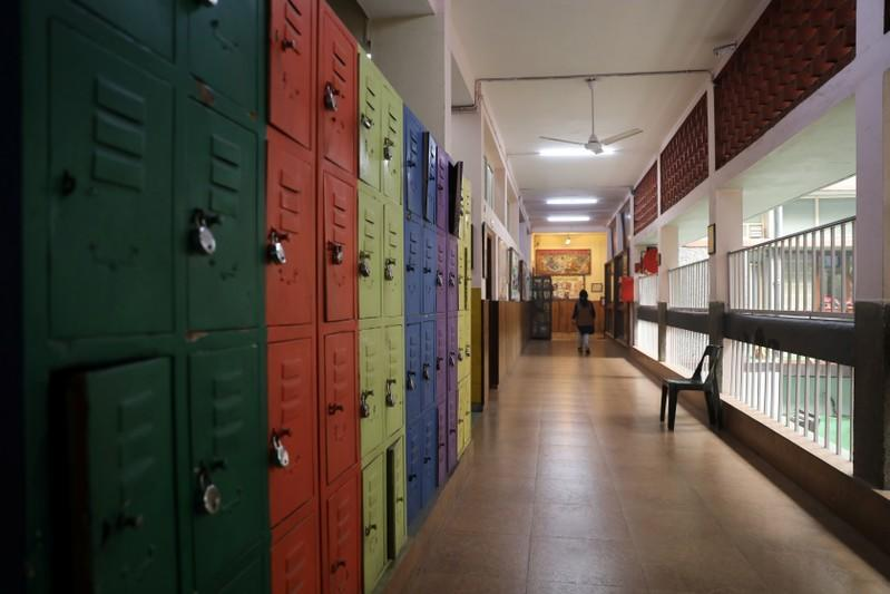 An empty corridor of a school is seen after the school remained closed on account of smog in New Delhi
