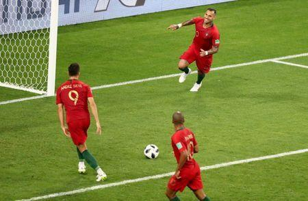 Soccer Football - World Cup - Group B - Iran vs Portugal - Mordovia Arena, Saransk, Russia - June 25, 2018 Portugal's Ricardo Quaresma celebrates scoring their first goal with Andre Silva REUTERS/Lucy Nicholson