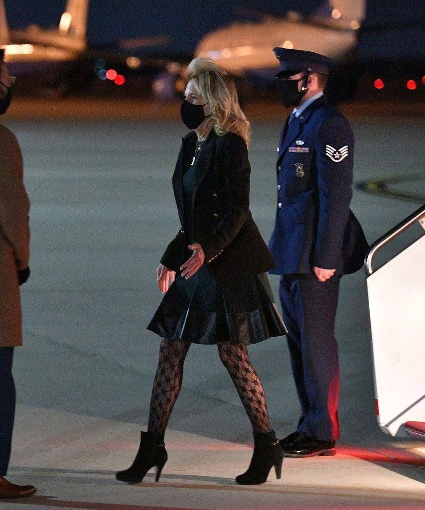 US First Lady Jill Biden deplanes upon arrival at Andrews Air Force Base in Maryland on April 1, 2021. – Biden returned to Washington after a visit to California. (Photo by MANDEL NGAN / POOL / AFP) (Photo by MANDEL NGAN/POOL/AFP via Getty Images)